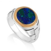Eilat Stone Ring Round Sterling Silver And Gold Plate by Marina Jewelry
