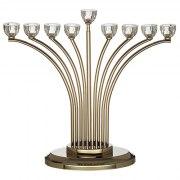 Hanukkah Menorah Outward Curve With Crystal Candle Holders