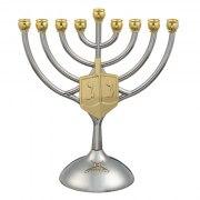 Hanukkah Menorah with Gold Colored Dreidel