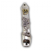 Sterling Silver Tree Of Life Mezuzah with Gold Shin