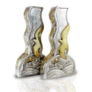 Sterling Silver Shabbat Candlesticks with Peace Doves