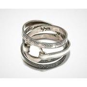 Silver Jewish Ana Bekoach Kabbalah Wrap Ring
