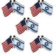 5 Israel-USA flag Lapel pins