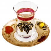 Lily Art Glass Kiddush Cup And Gold Saucer With Grapes And Red Pomegranates
