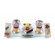 Glass Shabbat Candlesticks and Tray Maroon Tulips Design