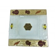 Lily Art Gold and Bordeaux Glass Matzah Plate Pomegranate Theme
