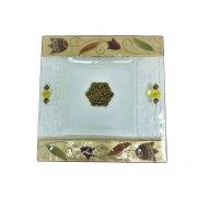 Lily Art Gold and Bordeaux Glass Matzah Plate Tulip Theme