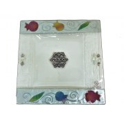 Lily Art Glass Matzah Plate with Colorful Pomegranates