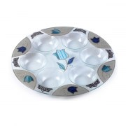 Lily Art Hand-Painted Glass Seder Plate Blue Tulips Theme