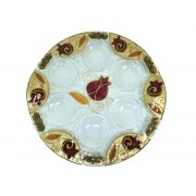 Lily Art Hand-Painted Gold Glass Seder Plate Bordeaux Pomegranates