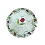 Lily Art Hand-Painted Glass Seder Plate with Purple Tulips