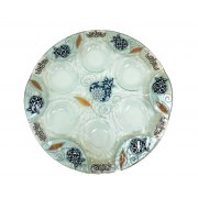 Lily Art Hand-Painted Glass Seder Plate with Blue Pomegranates