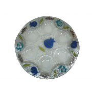 Lily Art Hand-Painted Glass Seder Plate with Blue and Turquoise Pomegranates