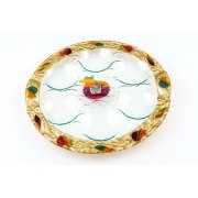 Lily Art Rosh Hashanah Glass Plate with Rainbow Pomegranates