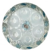 Lily Art Rosh Hashanah Glass Plate with Blue Pomegranates