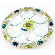 Lily Art Rosh Hashanah Glass Plate with Green and Blue Pomegranates