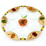 Lily Art Rosh Hashanah Glass Plate with Hand painted Apples