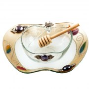 Lily Art Apple Shaped Glass Honey Bowl And Tray In Gold With Colorful Pomegranates