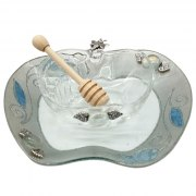 Lily Art Apple Shaped Glass Honey Bowl And Tray In Silver With Blue Pomegranates