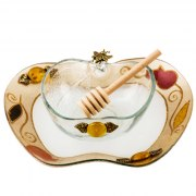Lily Art Apple Shaped Glass Honey Bowl And Tray In Gold With Pomegranates