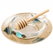 Lily Art Small Glass Honey Bowl On Golden Saucer With Striped Blue Tulips