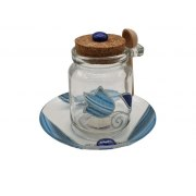 Lily Art Small Glass Honey Dish with Blue Tulip