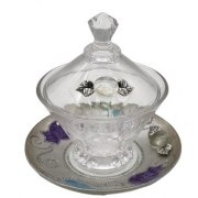 Lily Art Rosh Hashanah Glass Homey Pot with Silver Saucer