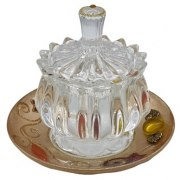 Lily Art Rosh Hashanah Glass Homey Pot with Golden Saucer