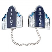Blue Enamel Two Tablets Tallit Clips with Jerusalem