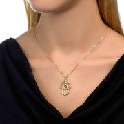 Gold Plated Zirconia Whole Bible Nano Jewelry Hamsa Pendant