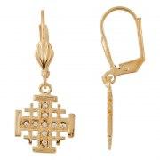 Marina Jewelry Gold Plated Jerusalem Cross Earrings Set With Zircons