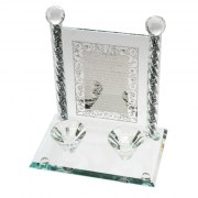 Crystal Candlestick Stand with Shabbat Candles Blessing