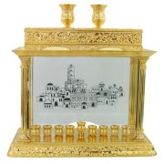 Gold Hanukkah Menorah with Jerusalem and Shabbat Candlesticks