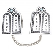 Silver Plated Luchot Habrit Two Tablets Tallit Clips with Stones