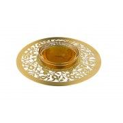 Dorit Judaica Gold Pomegranate Metal Cutout And Glass Honey Dish