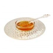 Dorit Judaica Silver Geometric Flowers Metal Cutout And Glass Honey Dish