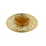 Dorit Judaica Gold Natural Pomegranates Metal Cutout And Glass Honey Dish