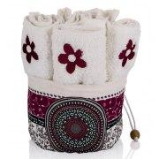 Dorit Judaica Papercut Style Floral Six Towel Set