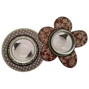 Dorit Judaica Flower And Circle Patterned Metal And Glass Honey Dishes