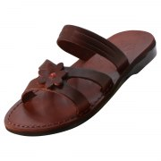 Slip on Handmade Leather Sandals with Flower - Oranit
