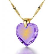 14K Gold Cubic Zirconia Starburst Shema Yisrael Heart Nano Jewelry