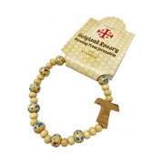 Marina Jewelry Blue And Red Spotted Olive Wood Bead Rosary Bracelet With Tau Cross