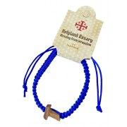 Marina Jewelry Blue Macramé Rosary Bracelet With Wooden Cross