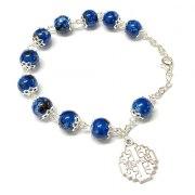 Marina Jewelry Blue Glass Beaded Rosary Bracelet With Jerusalem Cross