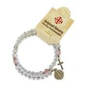 Marina Jewelry Glass Beaded Rosary Bracelet With Crucifix And Jerusalem Cross