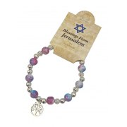Marina Jewelry Blue And Pink Glass And Metal Beaded Rosary Bracelet With Tree Of Life
