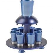 8 Cup Blue Colored Yair Emanuel Aluminum Kiddush Fountain