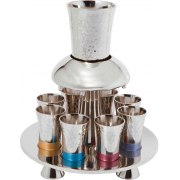 8 Cup Hammered Colorful Yair Emanuel Silver Plated Kiddush Fountain