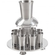8 Cup Silver Colored Yair Emanuel Aluminum Kiddush Fountain