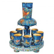 8 Cup Wood Yair Emanuel Kiddush Fountain with Animals